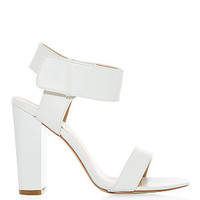 White Ankle Strap Block Heel Open Toe Sandals