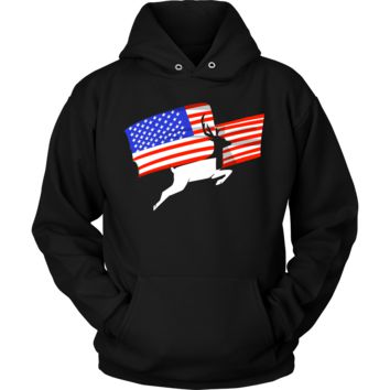 Deer Hunting USA Flag Animal Hoodie