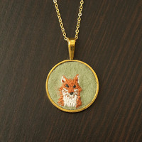Fox Embroidered Felt Necklace by KnitKnit on Etsy