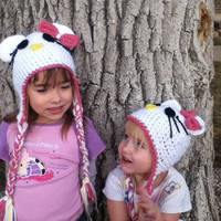 Hello Kitty Beanie Hat. FREE SHIPPING use coupon code. Any size. Make a custom order.