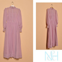 Vintage 1970s Lanvender Party Dress with Sheer Neckline