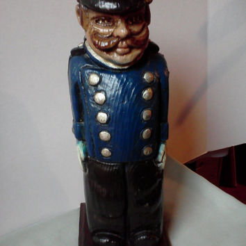 Vintage 1950 Hand Carved Wooden Policeman or  Bobby from Spain Whiskey Wine Bottle Hider Statue