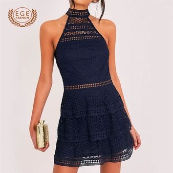 Elegant Hollow Out Dress Women Ruffle Lace Short Dresses Slim Halter Mini Dress Sleeveless Vintage Dresses Backless Vestidos