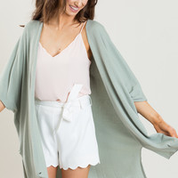 Cindy Mint Ribbed Drapey Cardigan