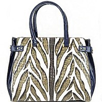 Zebra Print Patent Leather Top Handle Tote Purse w/ Shoulder Strap Navy