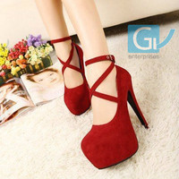 High-heeled shoes wedding shoes platform fashion Sexy women's pumps red bottom high heels 14cm