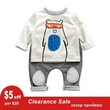 Fashion 2pcs lot Baby Bear T Shirt And Pants Terry Cotton Baby B 4315afc36101