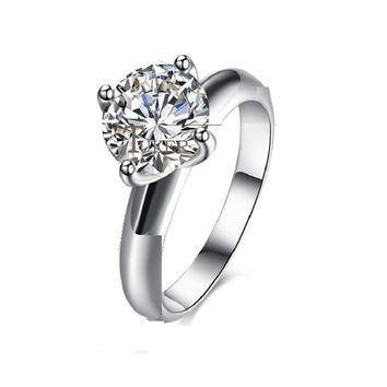 Classic Claw Round Single Crystal Point Drill Wedding Ring