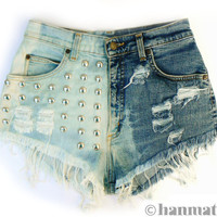 "Hanmattan ""DOMINO"" vintage waisted studded denim cutoff shorts ombre dip dyed hot pants"