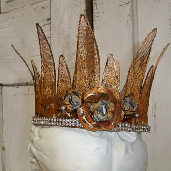 Large metal crown gold rusty metal roses rhinestones French Santos inspired design Anita Spero