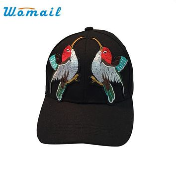 Womail Fashion Men Snapback Baseball Caps Women Birds Pattern Embroidery Black Sunhat Hip Hop Hats 2017 Drop #20 Gift 1pc