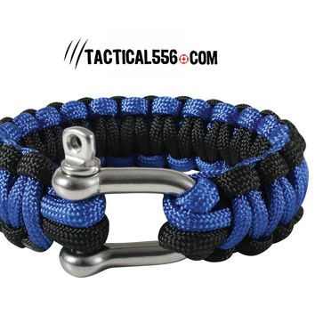 Thin Blue Line Paracord Bracelet With D-Shackle
