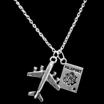 Airplane Passport Long Distance Sister Best Friends Couple's Travel Necklace