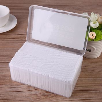 1000pcs Thin Cotton Pads Cleansing cotton Pad Facial Oil Control Absorption Film Makeup Remover towel Box-packed