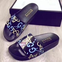 Gucci Fashion Casual Women Stars Print Sandal Slipper Shoes Red Green G
