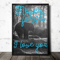 Printable wall art, instant download, elephant decor, I love you sign, typography print, vintage photo