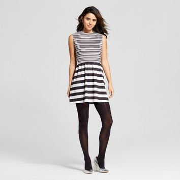 Women's Striped Fit & Flair Dress - Xhilaration™ Black