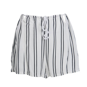 White Stripe Pleated Drawstring Cut Out Short