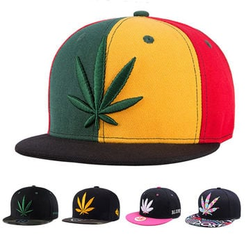 New Fashion  Sales ! Snapback Caps Hemp Leaf Hip Hop Cap Cool  Baseball Cap Hat  Casquette   For Men Women  Adjustable Bone