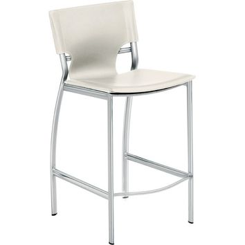 Lisbon Counter Height Stool White Top Grain Italian Leather