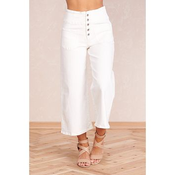 Sweet Spring Cropped Pants (White)
