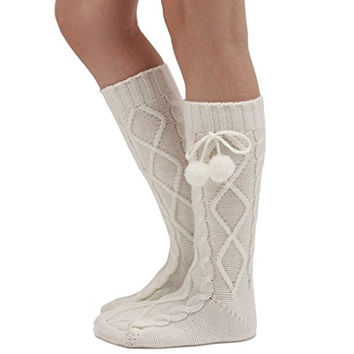 Womens Cable Knit Flirty Knee High Slumber Sleeper Socks
