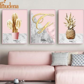 Nordic Pink Gold Pineapple Poster Golden Cactus Canvas Paintings for Living Room Modern Home Decoration Wall Art Pictures