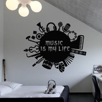 Wall Decal Vinyl Sticker Decals Art Decor Design Music is my life inscription guitar headphones drum contrabass musical instruments M1530