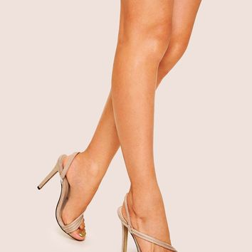 Open Toe Suede Strappy Stiletto Heels