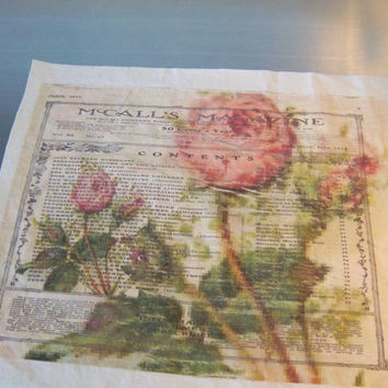 Quilt block handmade art journal supply shabby vintage roses fabric gift nature art scrapbook sewing supply wall art home decor