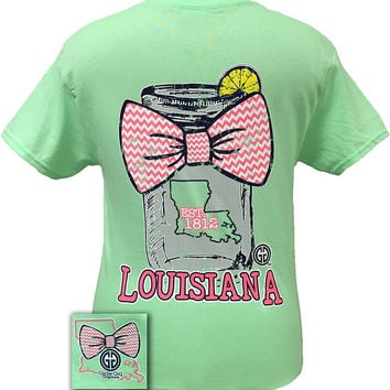 Girlie Girl Originals Louisiana Chevron Mason Jar Preppy State Bow Bright T Shirt