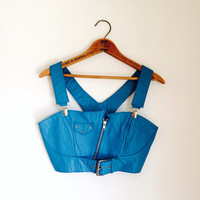 Vintage 90s Crop Top // Blue Leather Zipper Crop Top Sz XS