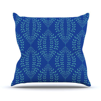 "Anneline Sophia ""Laurel Leaf Blue"" Navy Floral Outdoor Throw Pillow"