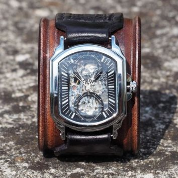 Steampunk Watch Cuff, Black and Brown Watch Cuff, Handmade Watch