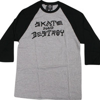 Thrasher Skate & Destroy Raglan 3/4 Sleeve XL Grey/Black