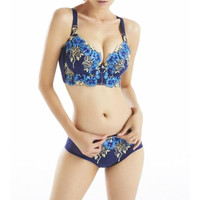 Luxury New Deep V New Brand Sexy Big Size Push Up Bra Set Floral Embroidery Lace Women Underwear