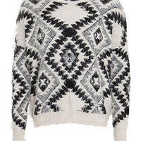 Cameo Rose Monochrome Fluffy Aztec Print Jumper