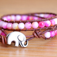 Pink White Yellow Jade Boho beaded leather double wrap bracelet, silver elephant, good luck jewelry, gift idea, hipster