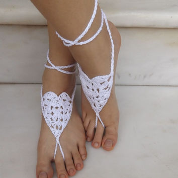 Crochet barefoot Sandals Nude Shoes Foot Jewelry Lace Shoes Yoga Anklet White Barefoot Sandals Bridal Party Summer Wedding