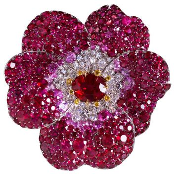 David Michael Ruby Diamond Platinum Ring