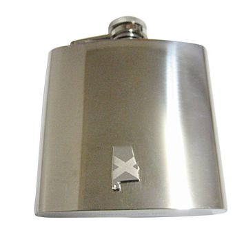Alabama State Map Shape and Flag Design 6 Oz. Stainless Steel Flask