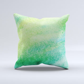 Vibrant Green Watercolor Panel ink-Fuzed Decorative Throw Pillow