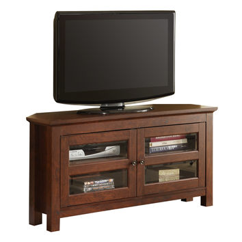 """44"""" Brown Wood Corner TV Stand Console"""