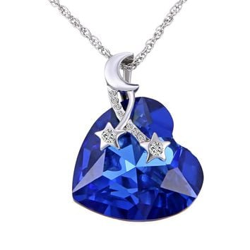 new Fashion Ocean Heart necklace Blue crystal Pendant moon and star Jewelry For Women wedding Love Gifts