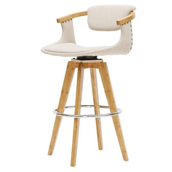 Darwin Fabric Bamboo Counter Stool Stokes Linen/Natural