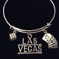 Las Vegas Expandable Silver Charm Bracelet Adjustable Wire Bangle Trendy Dice Cards Vacation Jewelry