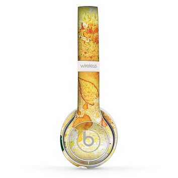 The Yellow Leaf-Imprinted Paint Splatter Skin Set for the Beats by Dre Solo 2 Wireless Headphones
