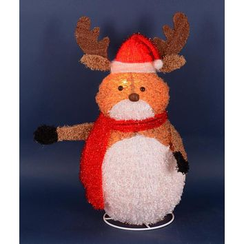 "24"" Lighted 3-D Chenille Reindeer with Santa Hat Outdoor Christmas Yard Art Decoration"