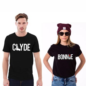 Bonnie & Clyde Couple T-Shirt - Unisex Crew Neck Novelty Tops