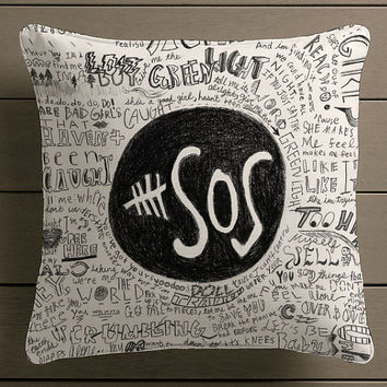 5 Seconds Of Summer Collage lyric Qoute Square Pillow Case Custom Zippered Pillow Case one side and two side